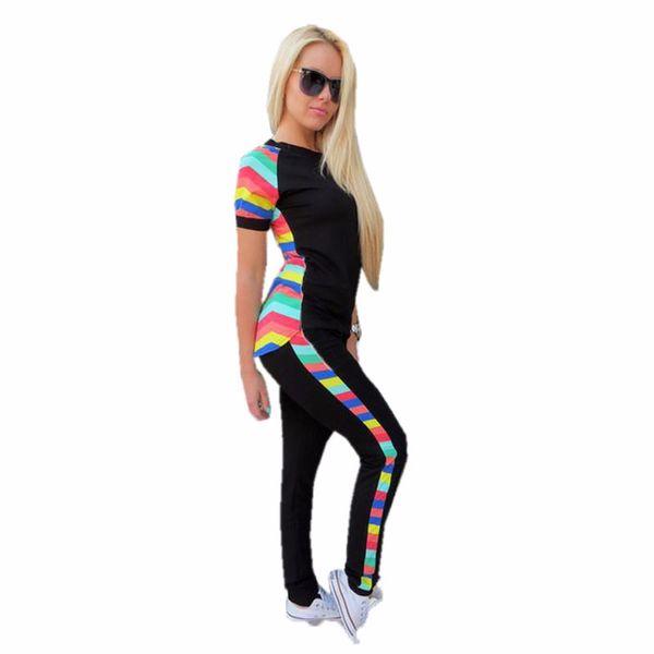 Spring New 2015 Fashion Womens Rainbow Sweatshirts Tracksuits 2 Piece Set Hoodies+Pants Casual Jogging Sport Suits Plus Size FG1511