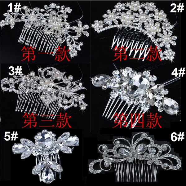 Bridal Wedding Tiaras Stunning Fine Comb Bridal Jewelry Accessories Crystal Pearl Hair Brush utterfly hairpin for bride 60pcs