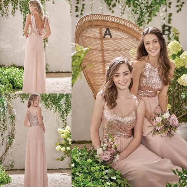 Cheap Rose Gold Bridesmaid Dresses A Line Spaghetti Backless Sequins Chiffon Cheap Long Beach Wedding Gust Dress Maid of Honor Gowns
