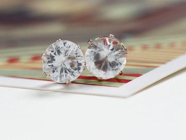 top popular 8MM crystal Earrings Gold plated Brilliant Cut Diamond Zircon Stud earrings for women Fashion Wedding Jewelry 2019