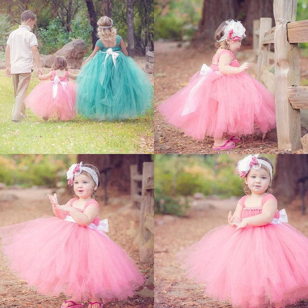 2015 Exquisite Pageant Dresses Glitz Flower Girls' Dresses Bow Coral Long Baby Flower Dress For Wedding Girls Kids Party Prom Gowns