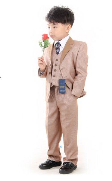 High quality male children's suits wear the flower boys dress children suit formal three-piece suit (jacket+pants+vest) custom made
