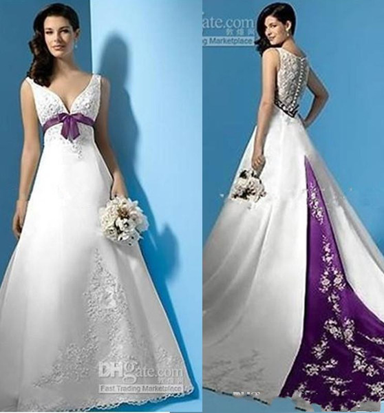 Best Selling White and Purple Satin A-Line Wedding Dresses Empire Waist V-Neck Beads Appliques Bow Bridal Gowns Custom Made new design