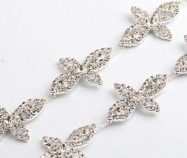 1 Yard Sparkle Rhinestones Crystals Pearl Four-leaf Clovers Silver Plated Ribbon Chain Trim
