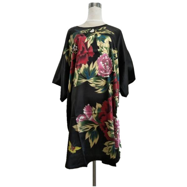 Al por mayor-novedad negro chino tradicional de las mujeres rayón albornoz ropa de dormir atractiva camisón salón de dormir con encanto un tamaño