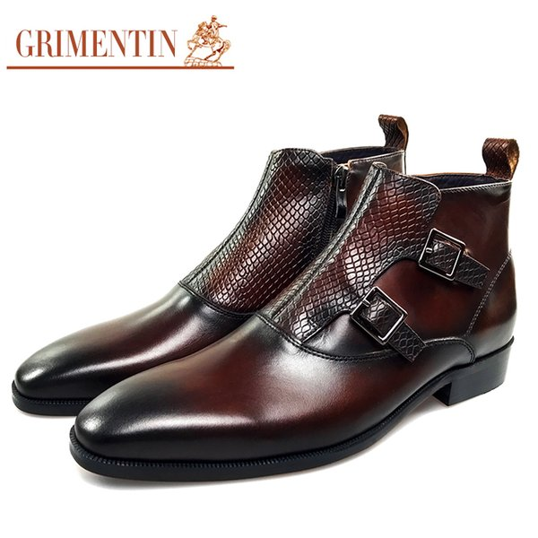GRIMENTIN Hot sale brand mens boots genuine leather buckle black brown formal business men dress boots Italian fashion leather mens shoes CG