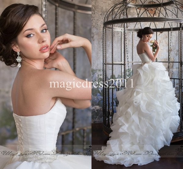 2019 Princess Puffy Wedding Dresses Ball Gown Sweetheart Cascading Ruffles Wedding Gown Luxury Bridal Dresses for Wedding Sweep train
