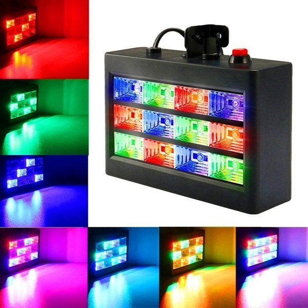 LED Effects DJ Party Lights,15W 12 LED Strobe RGB Stage Disco Lights Auto Sound Activated Adjustable Flash Speed Control for Party Wedding