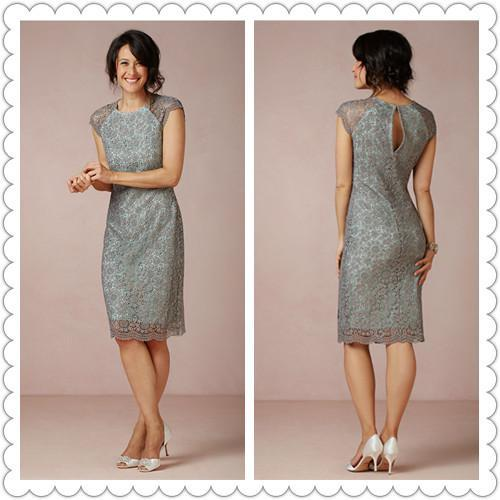 Hot Sale Mother Of the Bride Dresses Knee-Length Attire Lace Crew Sheath Short Modest Teal Cocktail Prom Celebrity Evening Dresses