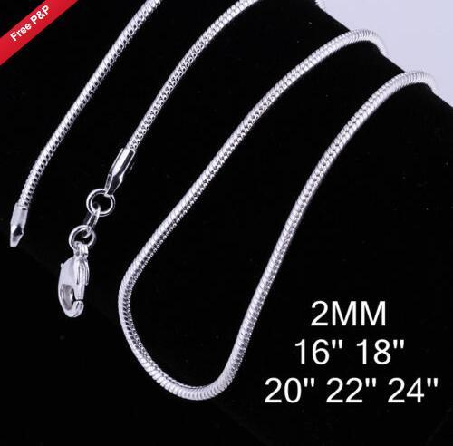 2017 new ! 3 size available !2MM/2.4M/1MM snake Chain sterling silver Necklace 16 18 20 22 24 INCH fashion jewelry 80pcs/