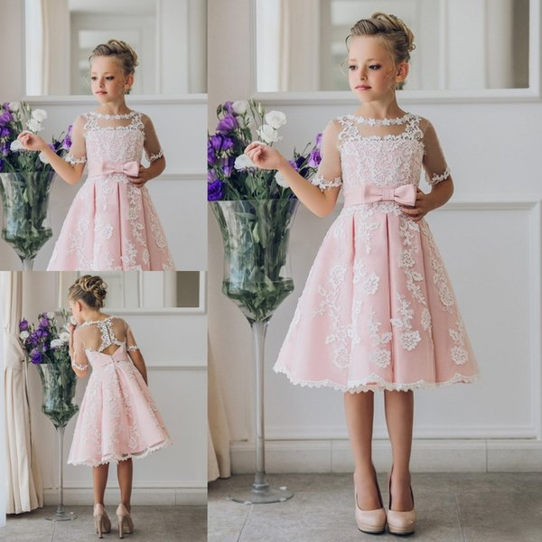 best selling Pretty Scoop Neck Half Sleeve Flower Girl Dresses Custom Made Button Back Lace Knee-length Girls Pageant Dresses Kids Birthday Party Dresses