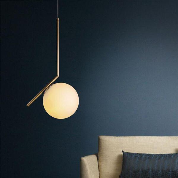 Moderna lampada a sospensione minimalista Nordic Glass Ball Lamp Home / Abbigliamento Decorazione a soffitto per soggiorno Camera da letto Sala da pranzo