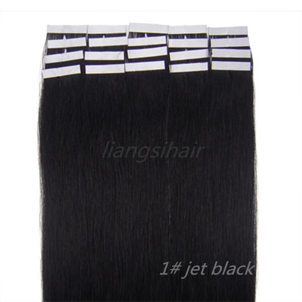 "wholesale prices 7A 18""-26"" 20pcs/set 1# Jet Black Brazilian Tape Skin Weft Indian Malaysian Peruvian Virgin Remy Human Hair Extensions"