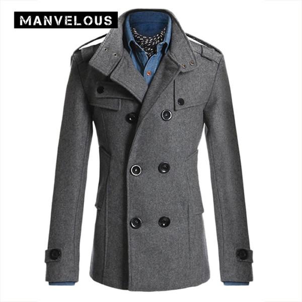 Toptan Satış - Manvelous Paltolar Erkek Sonbahar Moda Casual İnce Katı Yaka Düğme Orta Uzunlukta Pamuk Karışımları Kruvaze Erkek Trençkot