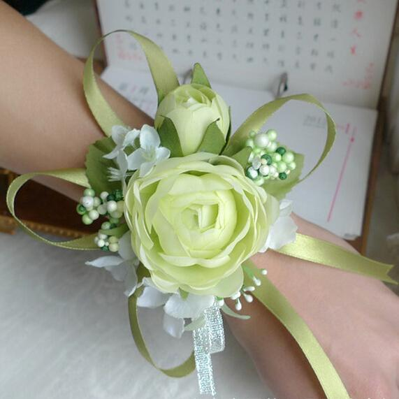 Wedding Prom Wrist Corsage, 7 colors, Silk Rose Flower with Ribbons, white, light green, champagne, rose red, purple, pink, yellow 6pcs/lot