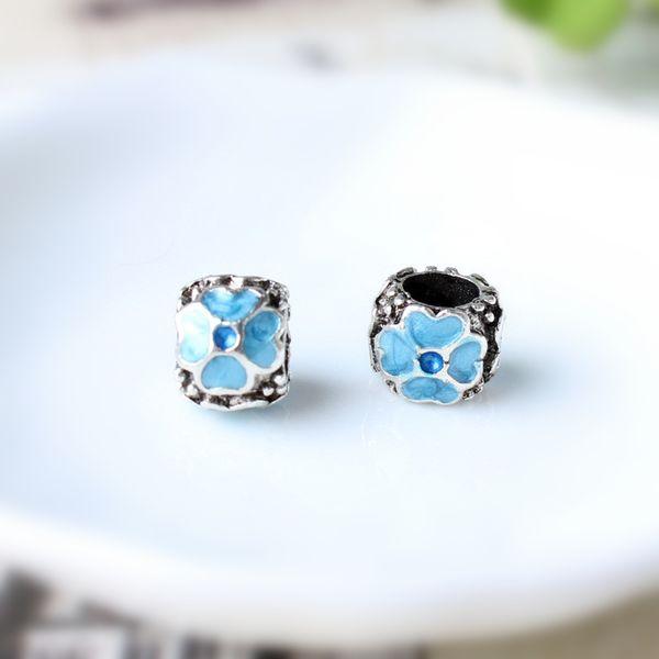 Sky Blue Painted Little Heart Charm Bead Big Hole Fashion Women Jewelry European Style For Pandora Bracelet