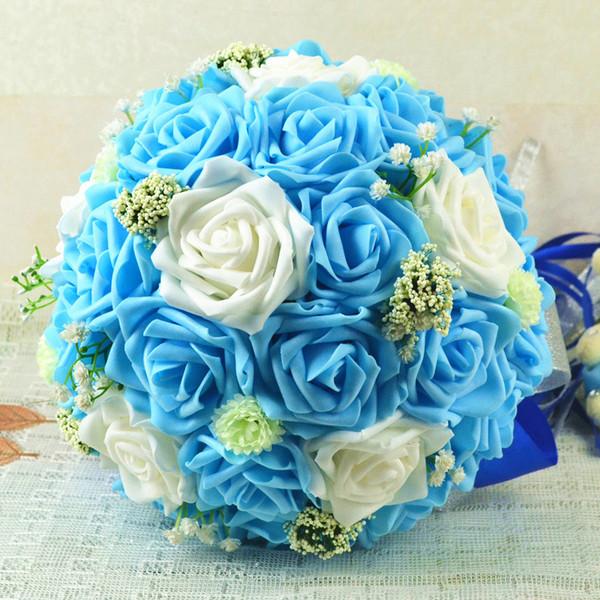 Beautiful Blue And White Artificial Wedding Bridal Bouquets Unique New Arrivals Romantic Rose Bride Bridesmaid Flowers Cheap