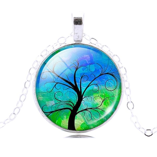 Vintage Gemstone Life Tree Pendant Necklace Glass Cabochon Pendant Silver Plated Art Picture Chain Necklace Mysterious jewelry Gift