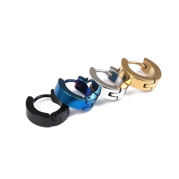 top popular New fashion anti-allergic Stainless Steel earrings men and women earrings 4 colors punk ear clip without ear piercings ear clip Screw Back 2019