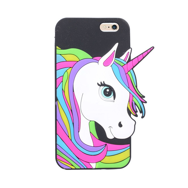 1pcs Cute Cartoon Animal 3D Unicorn Soft Silicone Case for Iphone5 5s Se 6 6s Plus 7 7plus