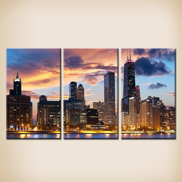 High Quality 3 Panel Canvas Art The City Night View Canvas Artwork Paintings Modern Cheap Paintings China Home Decore Items For Home