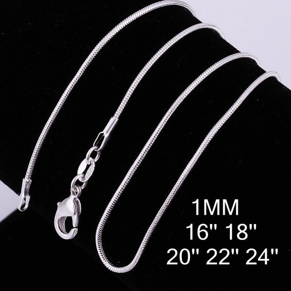 925 Sterling Silver High Quality hains Necklace 1mm Snake Chain Necklace 16inch/18inch/20inch/22inch/24inch 10pcs mixed