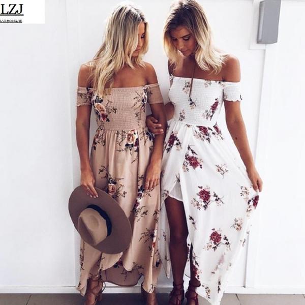 Gros-boho style longue robe femmes hors épaule plage robes d'été impression florale vintage mousseline blanche robe maxi vestidos de festa