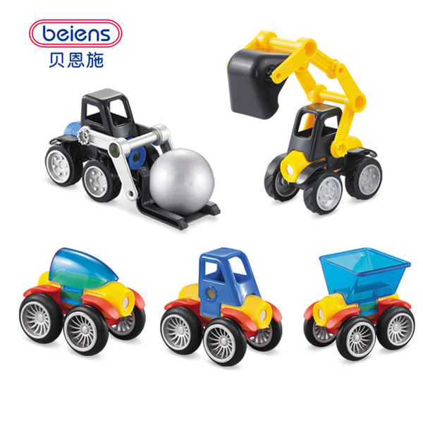 Beiens 3D Magnetic Building Blocks Model Building 29PCS Kids Toys Enlighten Bricks Educational Magnetic Engineering Vehicles Toy