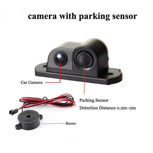 170 Degree 2 in 1 Sound Alarm Car Reverse Backup Video Parking Sensor Radar System Rear View Parking Camera