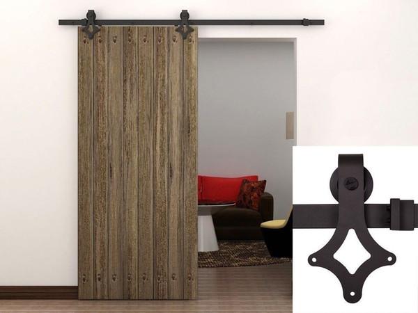 KIN MADE Free shipping- Wooden Barn Door Kits Sliding Door Track Home Renovation Easy DIY 4.1FT-8FT