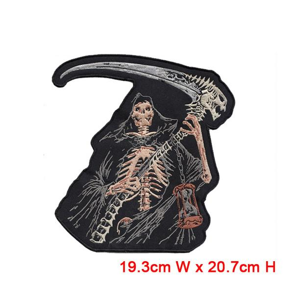 Free Shipping, large Skull Embroidered Iron On/Sew On Patch Motorcycle Biker Gothic Punk Applique 19.3 cm x 20.7 cm