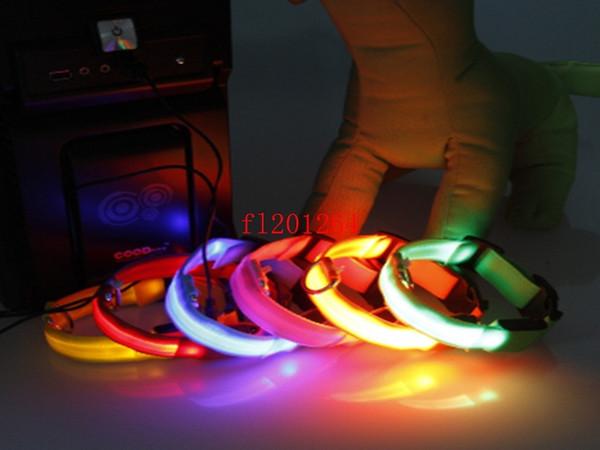 100pcs / lot Wholesale Sicherheits-Haustier-Hund LED blinkendes Licht USB-Aufladungsnylonkragen justierbarer S / M / L / XL DHL Fedex geben Verschiffen frei