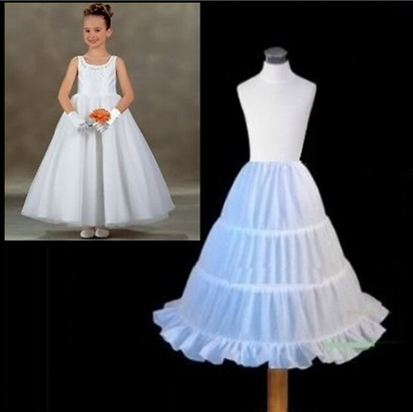 Flower Girls' Petticoats Three Circle Hoop Children Kid Dress Slip Underskirt Little Girls A-Line Petticoats