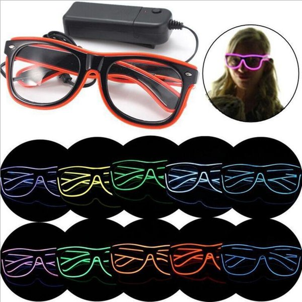 LED Party Glasses Fashion EL Wire Glasses Luminous Glasses Eyewear Birthday Christmas Party Bar Decor Supplies 10 Colors YW233