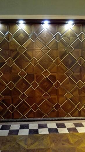 Hradwood parquet Custom wood floor Black w Medallion Asian pear Sapele wood floor Private custom wood floor Burmese teak wood floor