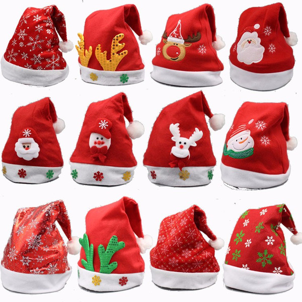 16 Style Red Santa Claus Hat Ultra Soft Plush Christmas Cosplay Hats Christmas Decoration Adults Christmas Party Hats 200pcs