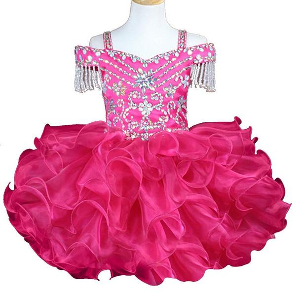 Cute Ruffle Beads Crystal Cupcake Girls Pageant Dresses 2018 Short Girl Communion Dress Kids Formal Wear Flower Girls Dresses for Wedding