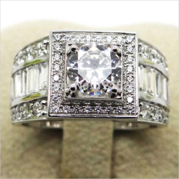 Victoria Wieck Sz 7-13 Asil Mücevherat Erkekler Topaz Simüle elmas 10KT Beyaz Altın Dolu Düğün Band Yüzük Hediye ücretsiz kargo