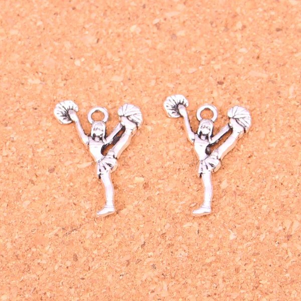 200pcs Antique silver Charms cheerleaders cheering dance Pendant Fit Bracelets Necklace DIY Metal Jewelry Making 26*17mm