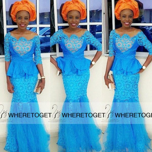 Estilos nigerianos Lace Frisado Vestidos de Noite 2019 Com Meia Manga Longa Peplum Sexy Sereia Tule Até O Chão Moda Africano Vestidos Especiais