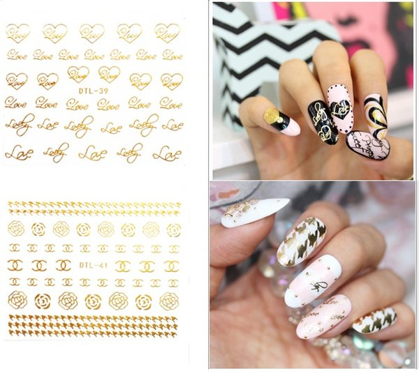 Nail Art 3d Stamping Paster Thousands Gold Style For Choose Dtl37 ...