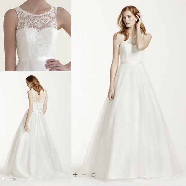 2b6a7353a Cheap Wedding Dresses Illusion Lace Tank A-Line Gown with Tulle Skirt 2015  New Free