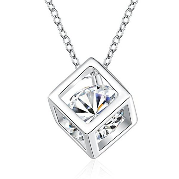 silver color Cube Square Cubic Zirconia Diamond Pendant Necklace Swarovski Elements Jewelry For Women Wedding Jewelry