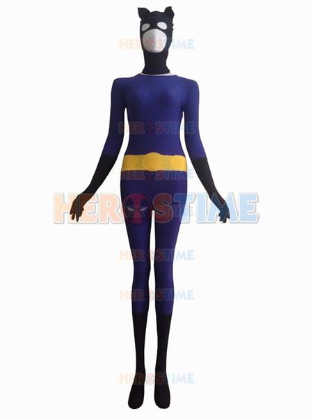 2015 Black & Purple Catwoman Superhero Costume fullbody halloween cosplay spandex female Catwoman costume hot sale zentai suit