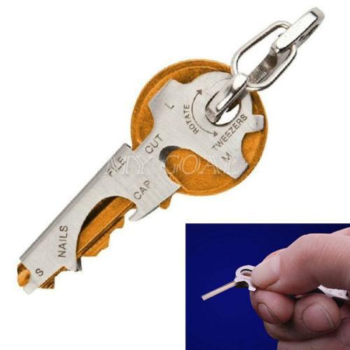 Großhandels-8 in 1 Edelstahl-Multifunktionswerkzeug keychain Überlebenszahnrad im Freien EDC