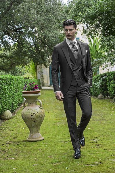 Cheap Dark Grey Vintage Men Suits Peaked Lapel Wedding Suits For ...