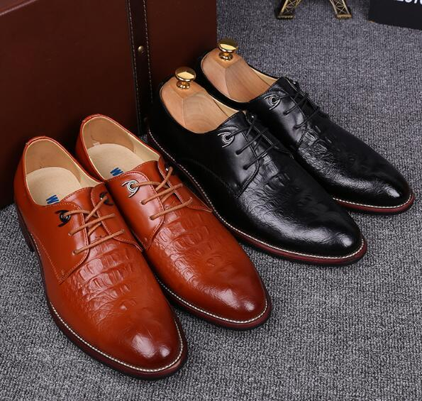 Crocodile pattern suits business casual shoes men to work high-rise groom wedding wedding shoes size:39-44