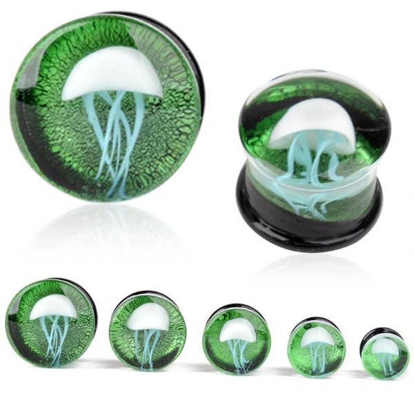 2 unids 8-16mm Green Jellyfish Grass Ear Plug Océano Ear Piercing doble acampanado translúcido brillante Ear Gauges joyería del cuerpo