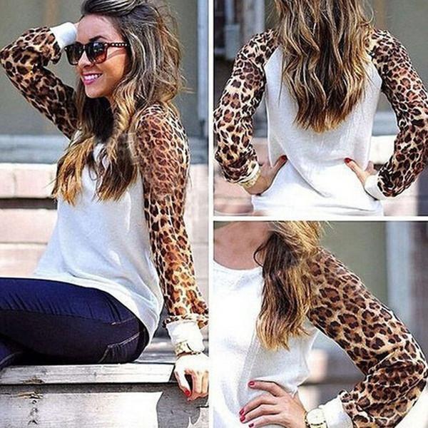 New womens cotton t shirts fashion oversized tshirt long sleeve cotton women designer t-shirts splicing leopard chiffon crop tops con lazo