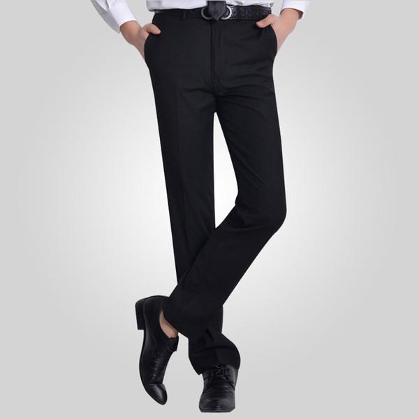 Atacado-Verão Sarja De Algodão Liso Desgaste Do Trabalho De Escritório Gentleman Homens Negros Terno Calças Mens Calças De Negócios De Carga Dos Homens Vestido De Noiva Calça